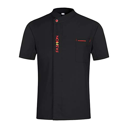 Freahap Camisa de Chef Cocina Manga Corta para Verano para Hombres y Mujeres, Chaqueta de Cocinero Camarero Diseño Clástico Transpirable y Cómodo Negro XXL