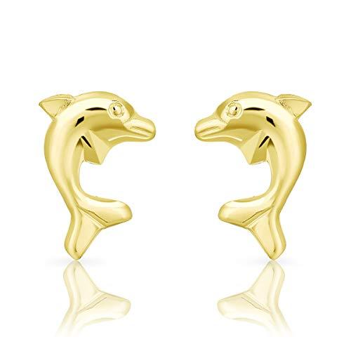DTPsilver Aretes/Pendientes Pequeños de Plata de Ley 925 Chapado en Oro Amarillo - Forma de Delfín - Dimensión: 7 x 10 mm
