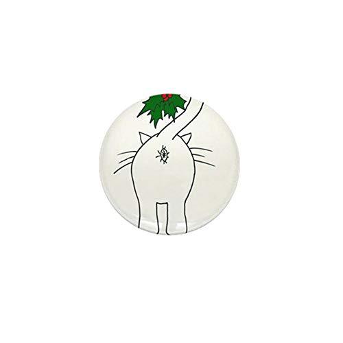 Botones redondos de reconocimiento de 4,5 cm, saludos de la temporada de nuestro gato con clip para insignia decoraciones, alfileres – 5 paquetes