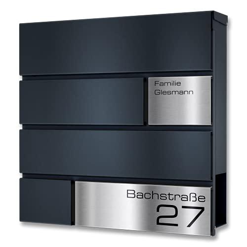 Metzler Briefkasten in Anthrazit Modell G - Pulverbeschichtung in RAL 7016 Feinstruktur Matt - Postkasten mit Gravur und Edelstahl Namensschild - Zur Wand-Montage - Größe: 37 x 37 x 10,5 cm