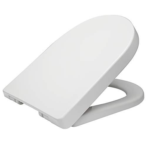 WOLTU Copriwater Sedile WC Universale Coperchio con Chiusura Ammortizzata Soft Close Toilet Seat Bagno in Plastica Antibatterico Bianco WS2544