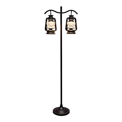 Lámpara de pie Industrial Lámpara colgante de pantalla de vidrio de la vendimia cuelgan de pie Lámpara rústica Interiores Retro poste alto Luz for sala de estar, oficina, dormitorio, negro lámpara de
