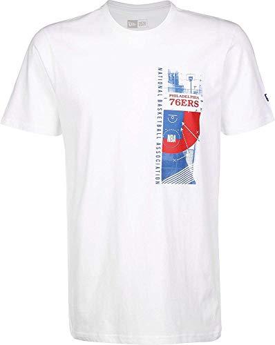 New Era NBA Photo Print tee Phi76E Camiseta de Manga Corta, Hombre, White, S