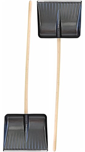 Nick and Ben Grosse Bärenschaufel Doppelpack 2 Stück Holz-stiel Schnee-Schieber Schnee-Schaufel Schnee-räumer Schnee-wanne mit Aluminium-kante 155cm Universal-Schieber Lawinen-Schaufel