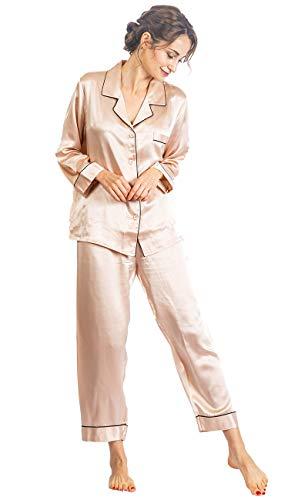 kurevy レディース シルクパジャマ ピンク M 上下セット 高級シルク100% 6Aランク 前開き 長袖 静電気防止 敏感肌・乾燥肌にお勧め 日本メーカー国内検品検査済み (ピンク, M)