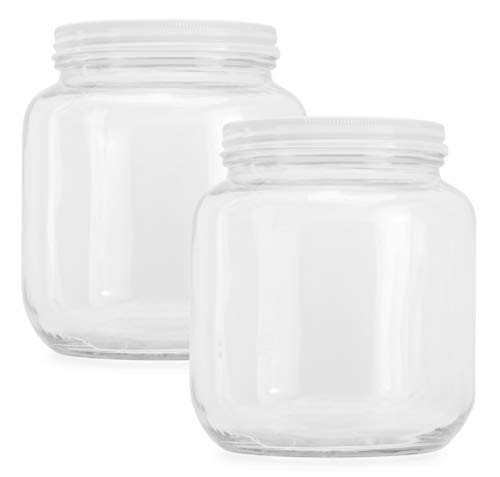 Clear Half Gallon Wide Mouth Glass Jars 2 Pack 64 Ounce 2 Quart Capacity With Metal Lids Bpa Free Buy Online In Guatemala At Desertcart