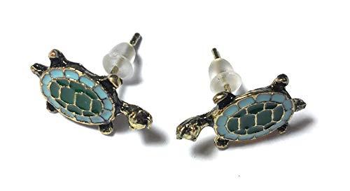 FizzyButton Geschenke Bronzeton Schildkröte Schildkröte Ohrstecker mit blauen und grünen Emaille Detail, in Geschenkkarton