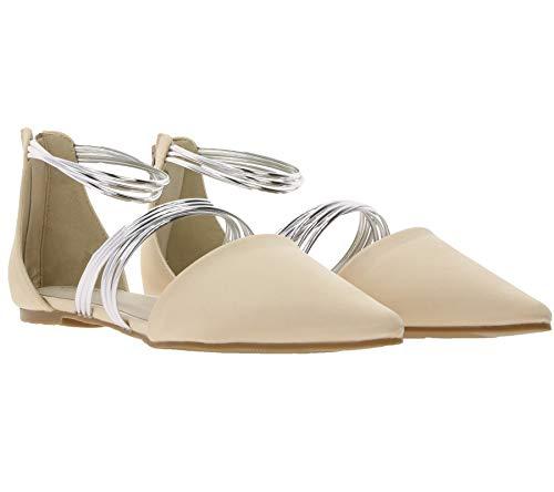 Heine Ballerina glänzende Damen Satin Party-Schuhe Slipper Sommer-Schuhe Spangenpumps Beige, Größe:37