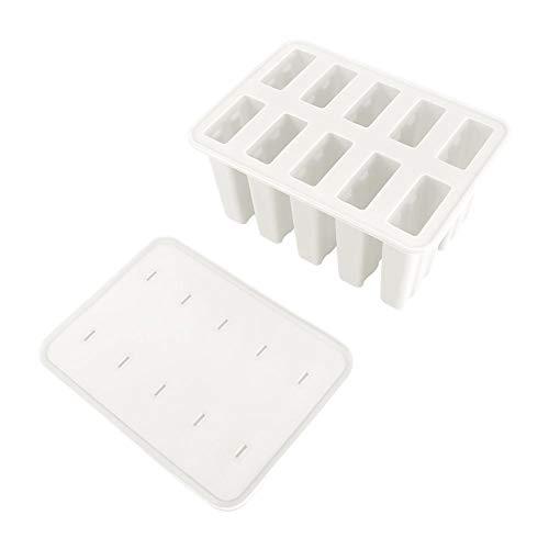 Wifehelper Ice Cream Mold, 10 Cells Silica Gel Classic Reusable Ice Pop Mold Set DIY Popsicle Ice Bar Maker Children Ice Cream Making Tools with 50 Sticks(White)
