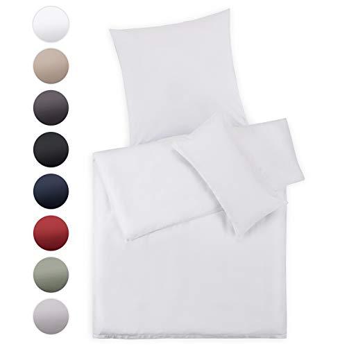 Blumtal Mako Satin Bettwäsche 135 x 200 cm mit Kissenbezug 80x80 cm - 100% Baumwolle, Superweiches Bettbezug Set, White