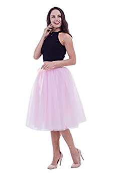 Women Tulle Skirt Adult 7 Layered Pleated Tutu Skirt A Line Knee Length Petticoat Girl Prom Party Skirt  Pink