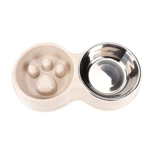 Balacoo Doppia Ciotole per Gatti Cani Ciotola Anti ingozzamento in Paglia di frumento Ciotola in Acciaio Inox con Pad Antiscivolo per l'alimentazione degli Animali Domestici