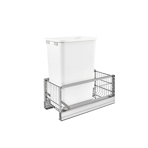 Rev-A-Shelf 5349-15DM-1 22 x 10.75 x 19.25 Inch 35 Quart Kitchen Cabinet Pull Out Waste Container Storage with Trash Can and Wire Basket, White