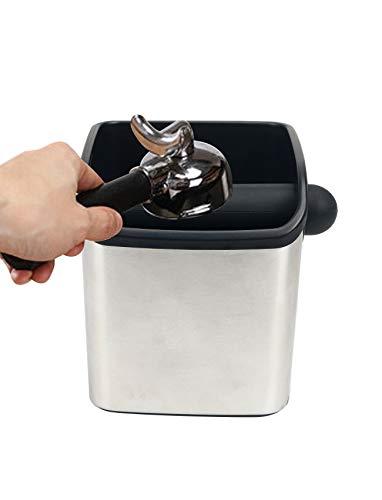 Abschlagbehälter für Siebträger,Coffee Knock Box,Abklopfbehälter für Siebträger Edelstahl Kaffeesatzbehälter,Abschlagbehälter siebträgermaschine,Espresso Abschlagbox,Kaffeemaschine Siebträger Zubehör