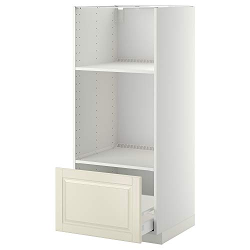 METOD/MAXIMERA hög hytt för ugn/micro w låda 60 x 61,9 x 148 cm vit/Bodbyn off-white