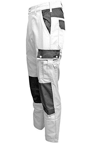 TMG Malerhose Arbeitshose Bundhose Übergröße Canvas 320g/m² weiß Gr. 46-80 (44, weiß)