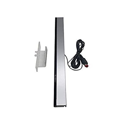 Wii Sensor Bar, Wired Receiver Infrared Sensor Bar Motion Sensor Inductor with Stand for Nintendo Wii/Wii U Console, includes clear stand