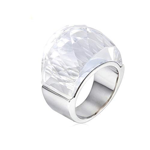 AnazoZ Anillos Piedra Plata Oval Anillos de Blanco Anillos Mujer de Acero Inoxidable Talla 20