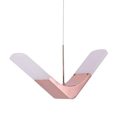 Abat-jour en acrylique pendentif moderne, lustre oiseau pour restaurant chambre de mariage chambre d'enfant chambre créatif personnalité plafonnier avec 6 watts LED lumière chaude (Couleur : Pink)