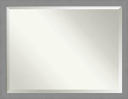 Amanti Art Framed Vanity Mirror | Bathroom Mirrors for Wall | Brushed -