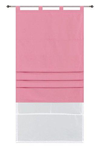 Doppel Raffrollo Palma Microsatin matt Voile, 80 x 175 (BxH), Pink Faltgardinen Faltrollo Schlaufenrollo mit Universalgardinenband, 20410