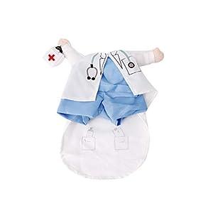POPETPOP Uniforme de Médecin Style pour Chiens, Vêtements Drôle de Chat, Costume Cosplay pour Halloween Habiller Les Vêtements pour Chiot
