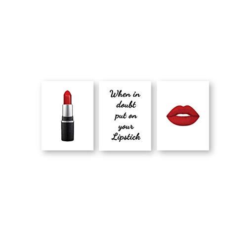 Aymsm Leinwandmalerei Roter Lippenstift Make-up Poster Drucken Lippenstift Zitate Wandkunst Schönheitssalon Make Up Wandbilder Mädchen Zimmer Dekor-40x60cm Kein Rahmen