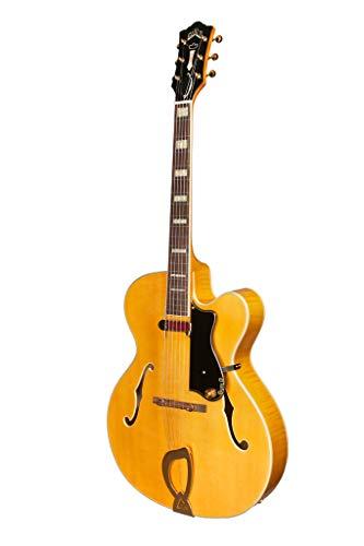 Guild Guitars A-150 Savoy Hollow Body Guitarra Eléctrica, Rubia, Carved Top w/DeArmond, Newark St. Collection, con estuche rígido