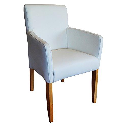Quattro Meble Weiße Lederstühle Echtleder Esszimmerstühle Massivholz Stühle David Arm Lederstühle Sessel Armlehnstuhl Echt Leder Toledo Bianco Esszimmer Stuhl