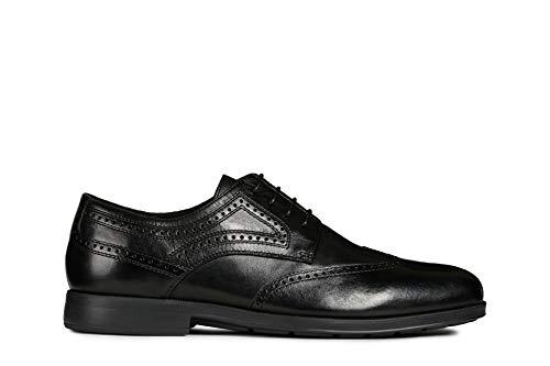 Geox U HILSTONE 2FIT B, Zapatos de Cordones Brogue Hombre, Negro (Black C9999), 44 EU