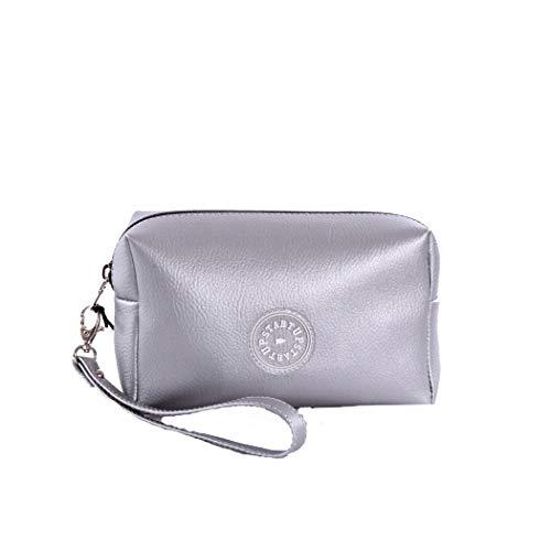 Startup make-up tas voor dames, van rubber, met logo, één maat, kleur: metallic zilver