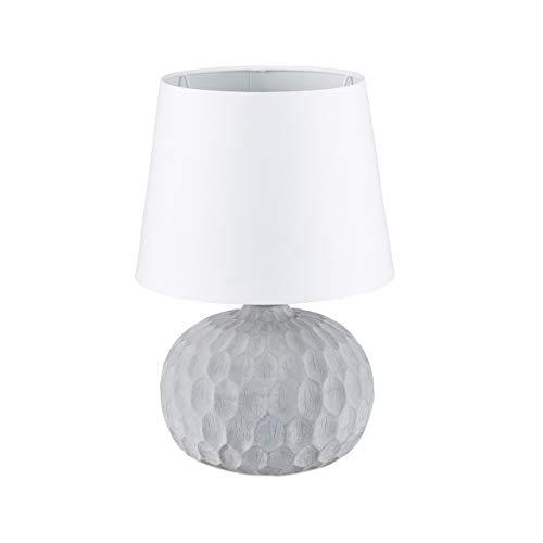 Relaxdays Lampe de table socle en ciment gris lampe de chevet abat-jour blanc design HxlxP: 36 x 23 x 23 cm, blanc