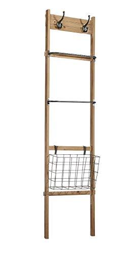 Kobolo Dekoleiter Kleiderleiter - inkl. Metallkorb Garderobenhaken - Holz u Metall - H 151 cm