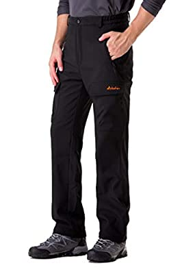 Clothin Men's Softshell Fleece-Lined Cargo Pants - Warm, Breathable, Water-Repellent, Wind-Resistantt-Insulated(Black,L)