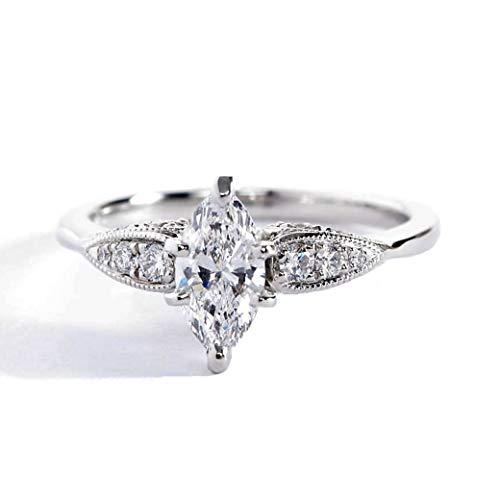 Anillo de compromiso de oro blanco de 18 quilates con diamante de talla marquesa de 1,00 quilates SI2 D