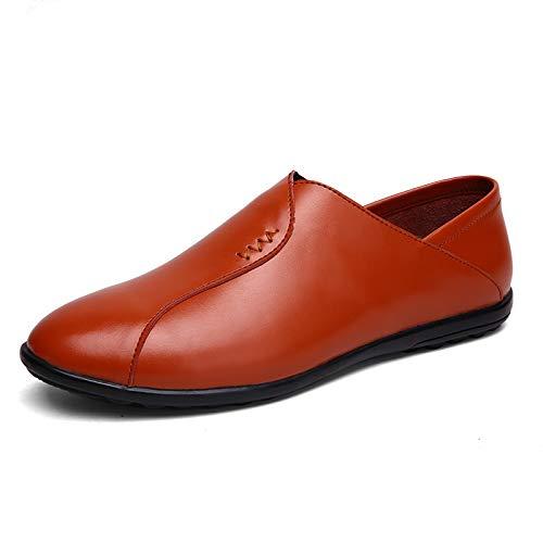 Hilotu Herren-Mokassins Casual Oxford Runde Spitze Schuhe ohne Schnürsenkel aus weichem und perforiertem Leder (Farbe: Braun-Breathable, Größe: 39 EU)
