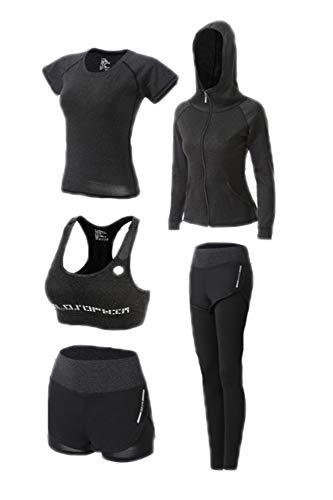worclub Frauen Yoga Set, Jogging Gym Fitness Training Sportsuit 5-teiliges Set
