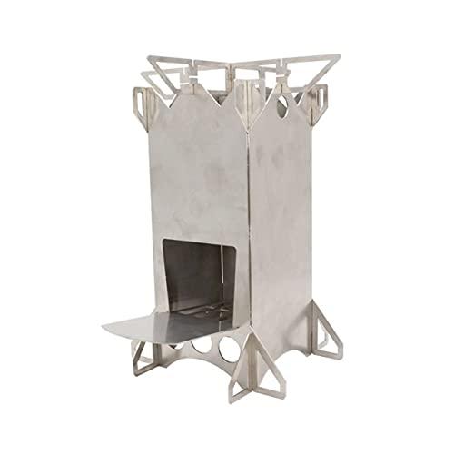 AnXiongStore Estufa de leña Plegable de Acero Inoxidable portátil para Acampar, Senderismo, Picnic, Estufa de Cohete de combustión Plegable para cocinar al Aire Libre