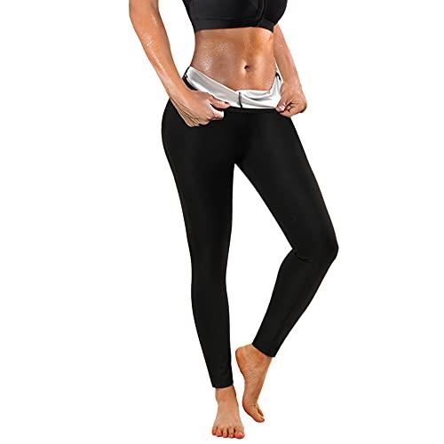 Bafully Damen Sauna Jogginghose Sporthose Hohe Taille Trainingshose Lang Schwitzhose zum Abnehmen Damen Schnelltrocknend Sweathose Sweatpants Bauchkontrolle Fitness Body Shaper (Schwarz, XL)