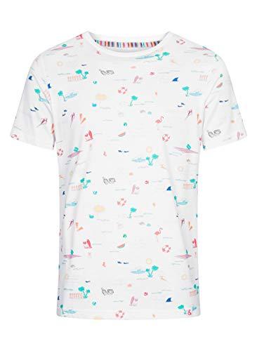 Colours & Sons Herren T-Shirt Pablo - Reine Baumwolle, Rundhalsauschnitt, sommerlicher Print, Mehrfarbig, M