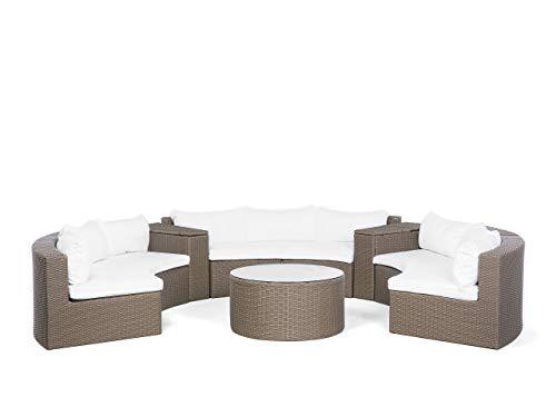 Trendy Gartenmöbel Set für 6 Personen Polyrattan Hellbraun Severo