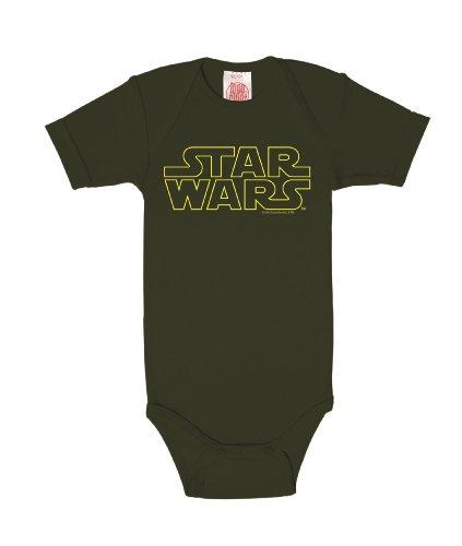 Logoshirt La Guerre des étoiles - Star Wars Logo - typographique Body pour bébé - Gigoteuse - Olive - Design Original sous Licence, Taille 86/92, 13-24 Mois