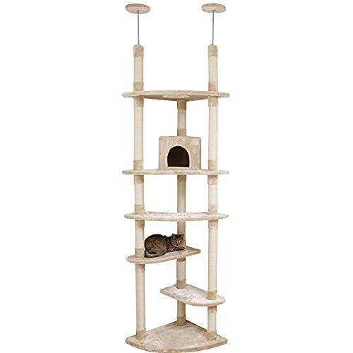 アイリスプラザ キャットタワー 突っ張り 人気 大型猫 つめとぎ付き 突っ張り ツイン ベージュ H223×W78×D54cm