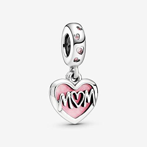 PINSHUO Auténtica Plata de Ley 925, Abalorios Colgantes de corazón con guión de mamá, se Ajustan a Las Pulseras Originales, joyería DIY