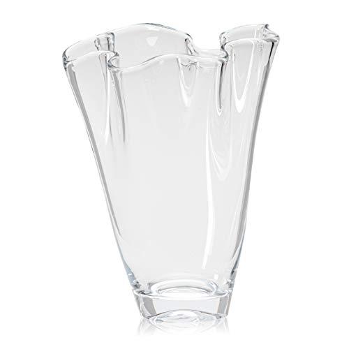 Glaskönig Vase aus Glas - Höhe 23cm Ø ca.15cm - Moderne Blumenvase als Tulpenvase in geschwungener Form - mundgeblasene Flower Vase im Vintage Design - Die Blumen Vase für den Frühling