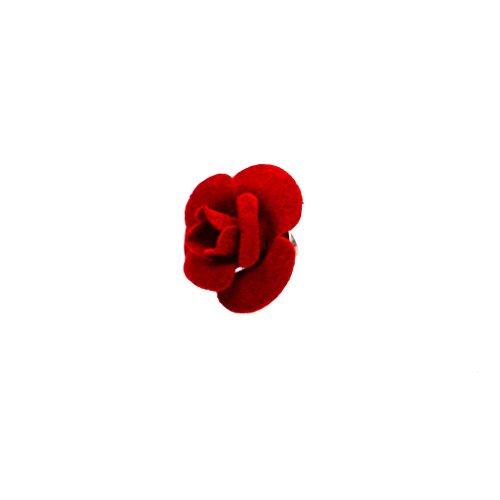 Harilla Retro Mujeres Vestido para Hombre Tela Flor Broche Pin Ramillete Accesorio de Fiesta de Boda - Rojo