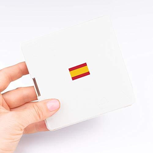 Estuche Caja Funda Porta Mascarillas Blanco Bandera España - 10 x 10 x 1,3 cm - Cierre Seguro - Lavable - Diseño Delgado - Material Resistente - Hecho en España