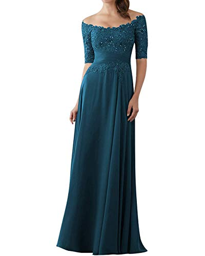 Zaozc Chiffon Long Mother of The Bride Dress 1/2 Sleeve Lace Appliques Cocktail Party Dresses for Women 2020 Teal Blue