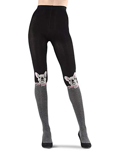 MeMoi Frenchie Face Sweater Tights Black/Charcoal Medium/Large