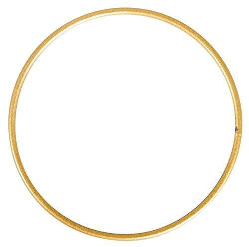 Rayher Metallring, beschichtet, Drahtringe zum Basteln, für Wickeltechnik, Traumfänger, Floristik, Hochzeitskranz (Gold, 50 cm, 1 Stück)